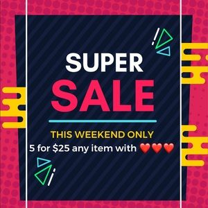 Super Sale!! Any item with ❤️❤️❤️ 5 for $25